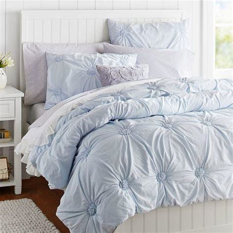 rosette bedding ruched rosette quilt sham frost blue from pbteen things i