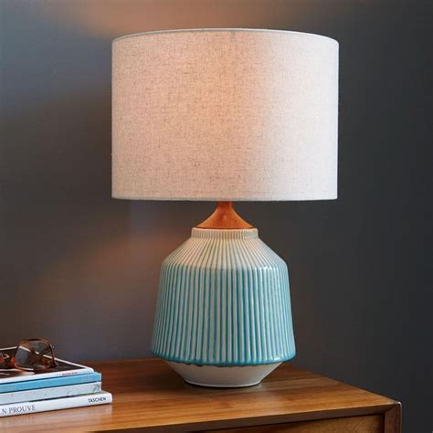 West Elm Rug by Roar Rabbit Ripple Ceramic Table Lamp Turquoise