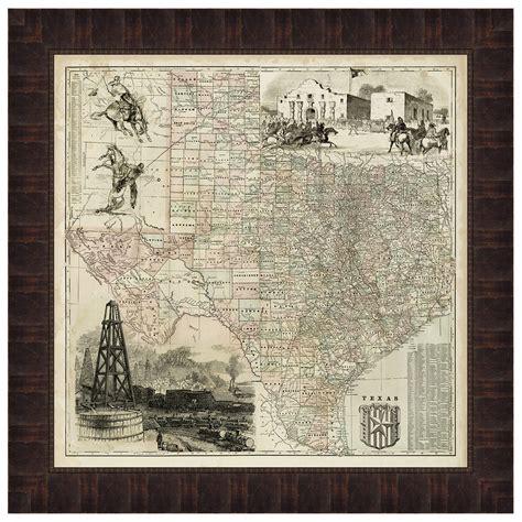 framed map of texas map of texas framed print