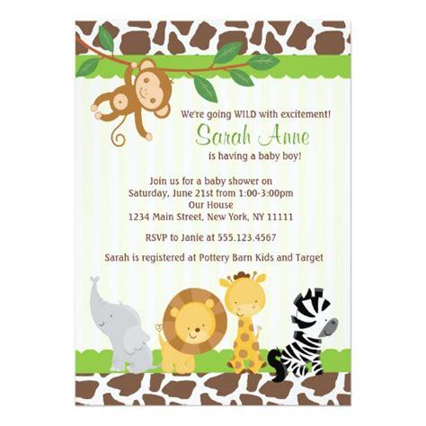 Safari Jungle Baby Boy Shower Invitation Zazzle Com Baby Shower Safari Invitation Templates