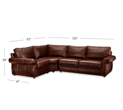 3 piece leather sectional pearce leather 3 piece sectional with wedge pottery barn