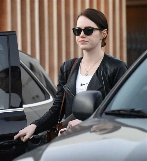 new film with emma stone emma stone leaving meche salon with a dark new hair for