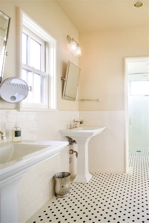 classic bathroom ideas is the floor tile black and white or black and cream