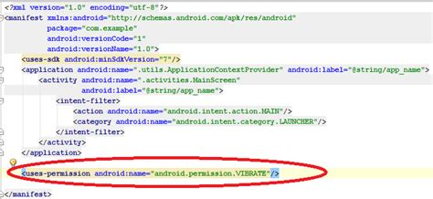 android uses permission androidexles android vibrate on click