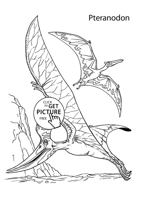 two pteranodons dinosaurs coloring pages for kids