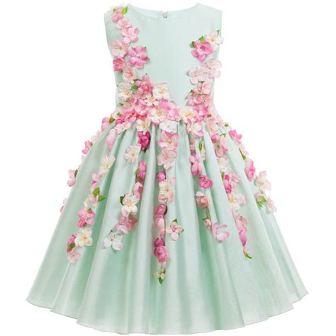 Dress Flower lesy luxury flower green cotton sateen dress with pink