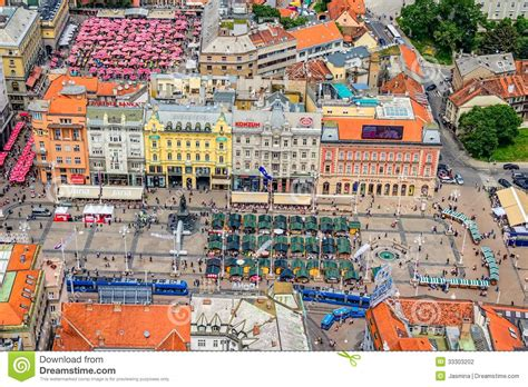 Architectural Building Plans by Zagreb Helicopter Aerial View Editorial Photography