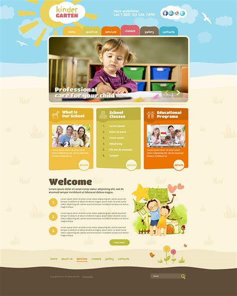 kindergarten wordpress theme kids website template gridgum