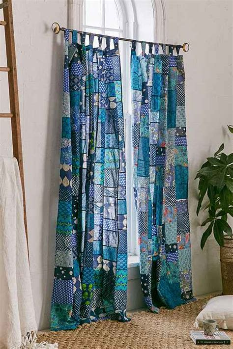 Blue Patchwork Curtains - magical thinking patchwork curtain outfitters