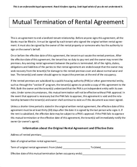 sle contract termination agreement 8 exles in