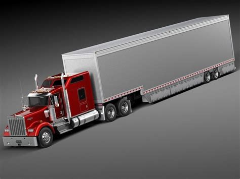 kenworth 2014 models kenworth w900 sleeper cab trailer 2014 3d model max obj