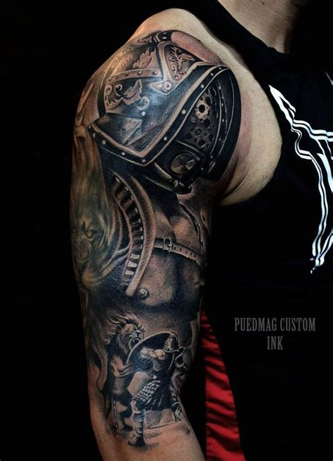 roman armor tattoo gladiator sleeve tattoos