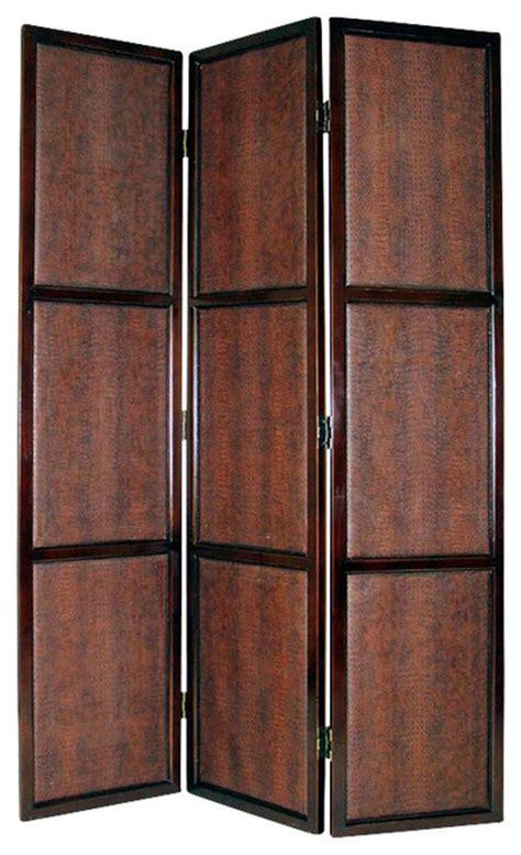 screen bedroom divider wayborn 3 panel leather room divider in dark brown