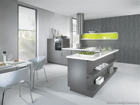 Accent Color For White And Gray Kitchen by Modern Gray Kitchen Cabinets With White Laminate Top