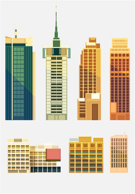 City Building Skyscrapers Template Vector Set 02 Free Download Free Building Templates