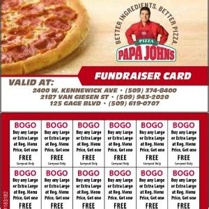 Where To Buy Papa John S Gift Cards - fundraisers for richland pasco and kennewick your papa john s