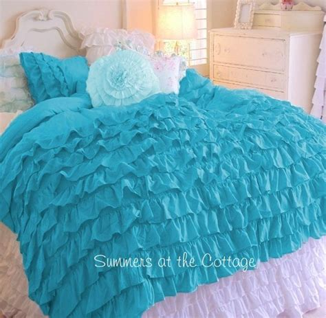 shades of aqua turquoise ruffles shabby cottage chic twin