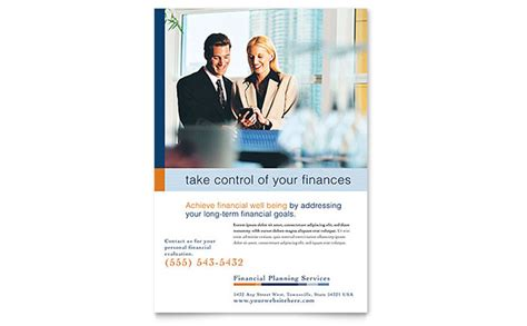 financial planning consulting flyer template design