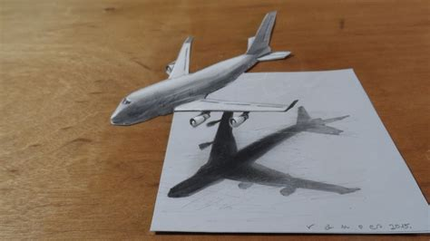 draw 3d drawing airplane how to draw 3d airplane boeing 747