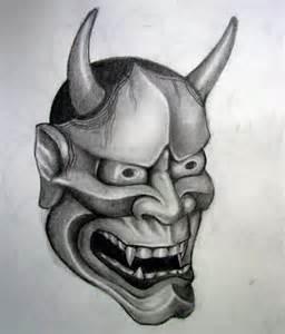 attractive devil hannya mask japanese tattoo design on arm