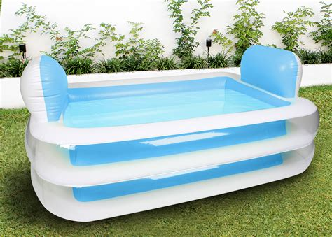 inflatable backyard pools inflatable family swimming pool rectangular pillows outdoor blue 152x108x6 aud 49