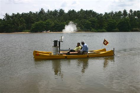 steam powered rc boat emca combine twin hull steam boat