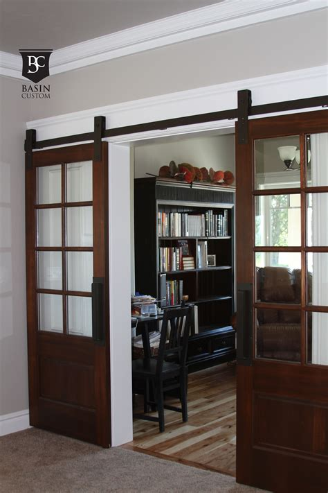 Interior Glass Barn Doors Grandiose Half Glass 8 Panels Barn Doors Interior With Iron Hardware As Well As Black