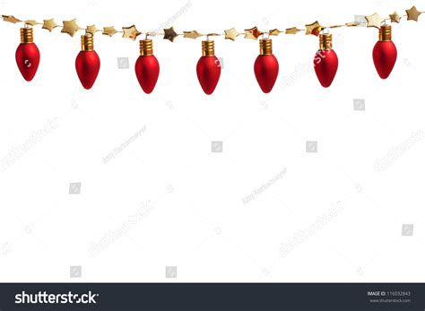 christmas string garland string of ornament lights on gold garland stock photo 116032843