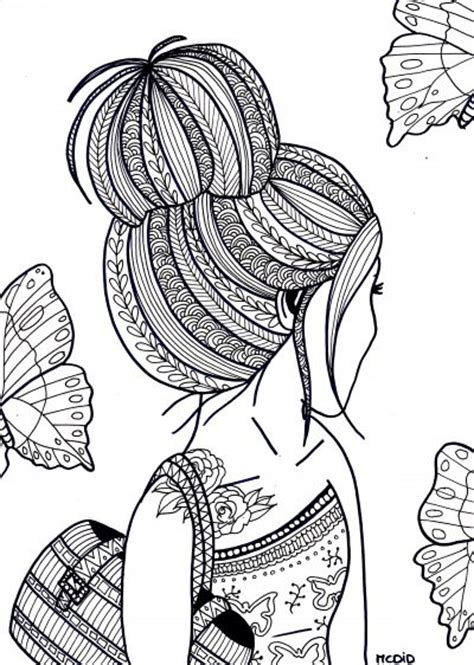 coloring pages for adults girl free coloring page for adults girl with tattoo gratis