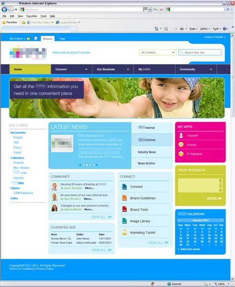 home page design sles 53 best images about sharepoint on pinterest