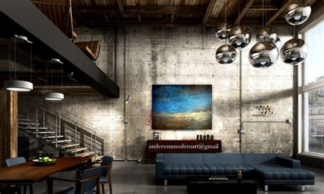 industrial style wall decor large abstract painting metal wall contemporary