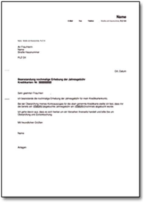Brief Anfrage Finanzielle Unterstützung Beanstandung Bei Der Bank Wegen Nochmaliger Erhebung Der Jahresgeb 252 Hr De Musterbrief