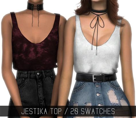 Crop Top Blouse Cc simpliciaty cc jestika top tucked in tank top