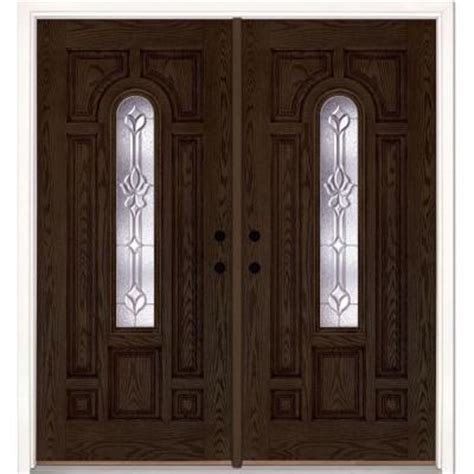 Feather River Doors 74 In X 81 625 In Medina Zinc Center Home Depot Front Doors With Glass