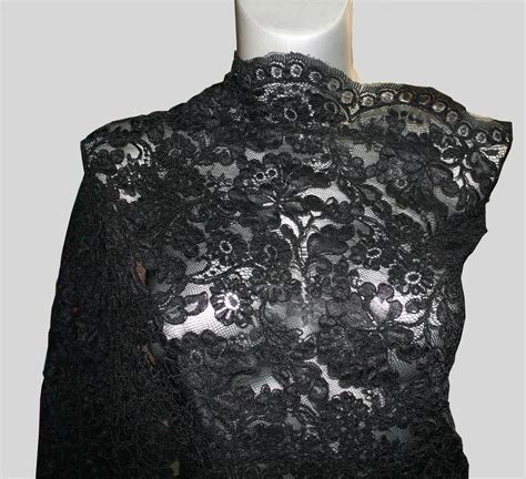 Black Lace black lace fabric high quality scalloped edge chording