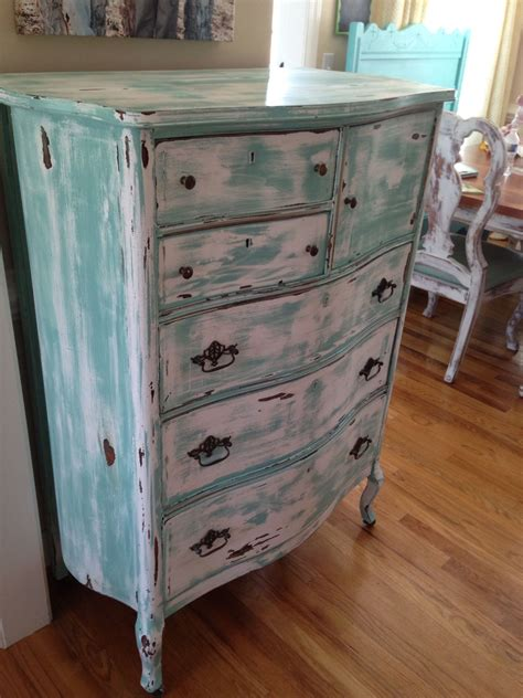 distressed antique green 3 drawer wood dresser antique chest of drawers turquoise white distressed