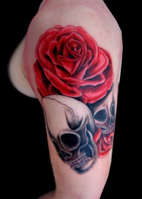 skeleton and rose tattoo skull designs skull