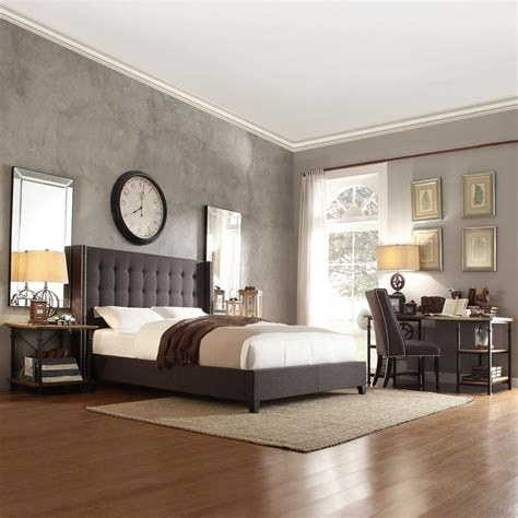 grey upholstered king bed homesullivan franklin park dark grey king upholstered bed