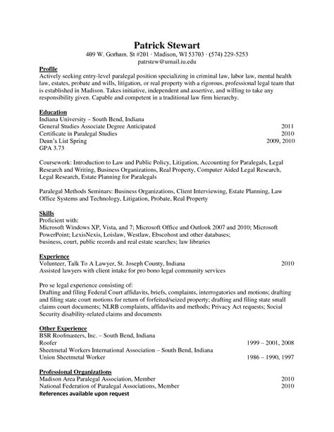 paralegal resume objective berathen