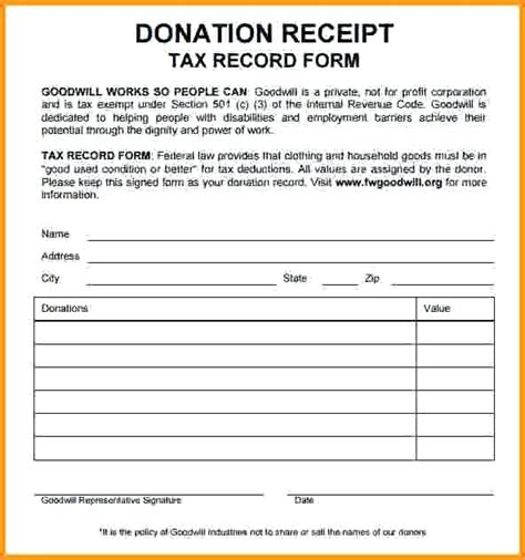 goodwill charitable donation receipt template goodwill donation receipts mindofamillennial me