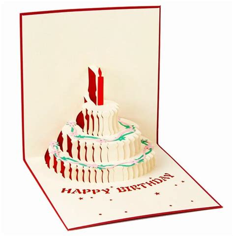 3 Candles Birthday Cake 3d Gift Card Haiku Kartu Ucapan Ulang Tahun 3d pop up greeting card diy happy birthday easter valentines day cake candle invitation gift
