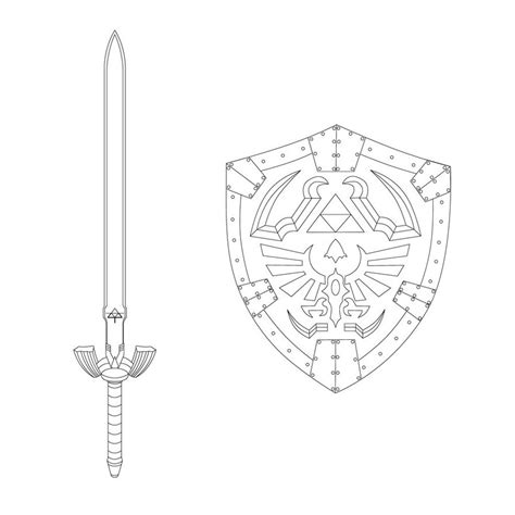 Hylian Shield Outline by Sword And Shield Coloring Pages Coloring Pages