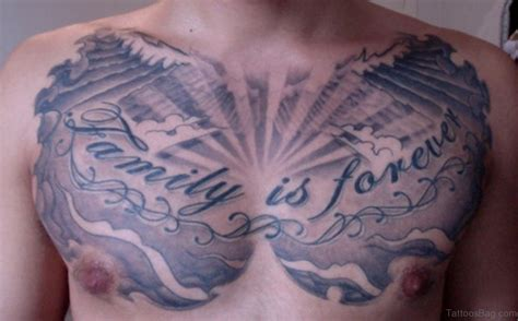 family chest tattoos for men 27 family wording tattoos on chest