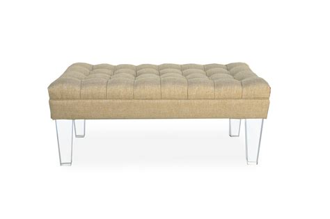 tufted lucite bench 48w x 24d acrylic legs hollywood