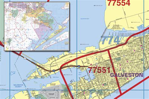 galveston texas zip code map galveston county wall map with zip codes