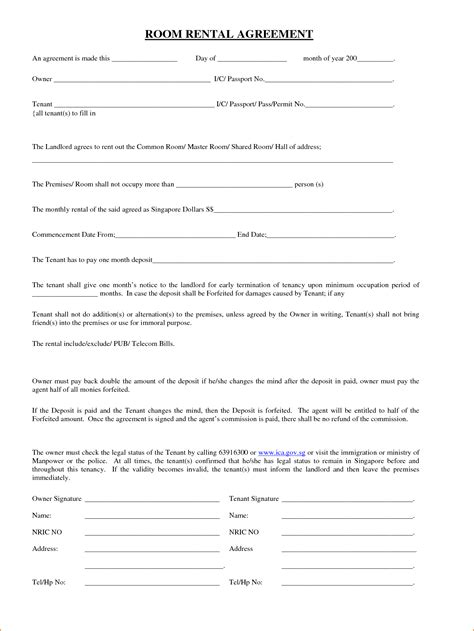 rent a room lease agreement template 6 room lease agreement teknoswitch