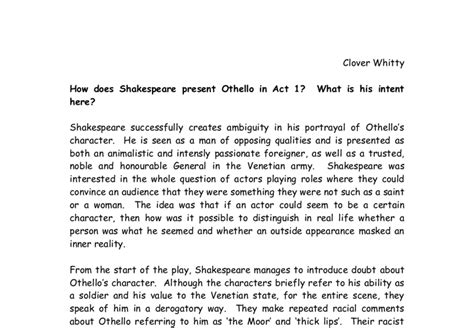 themes present in othello how does shakespeare present othello in act 1 what is his