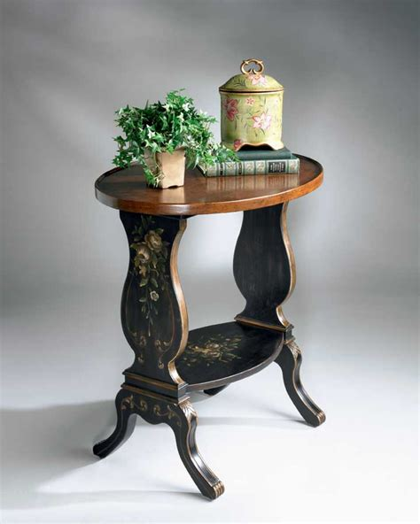 hand painted accent table butler 1336088 regal black hand painted accent table bt