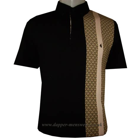 Panel Shirt gabicci vintage retro panel polo shirt in black