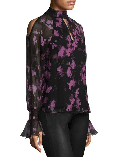 a012 flower blouse sabrina lyst silk sabrina floral choker blouse in black